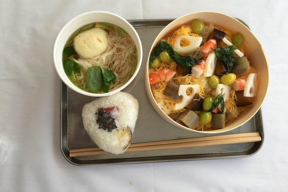Soup, chirashi, and onigiri