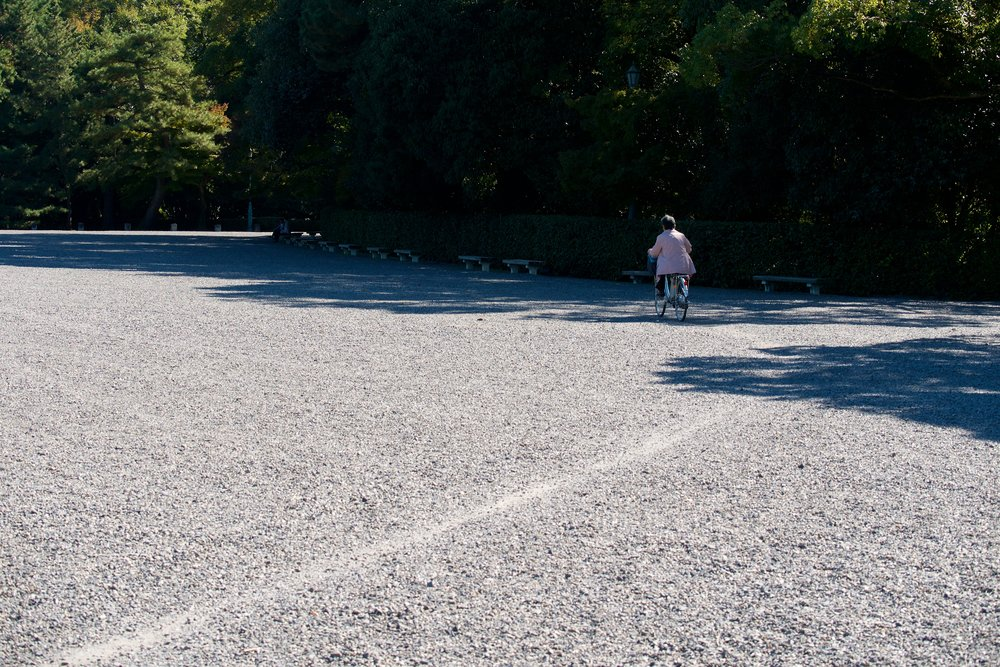 Bike path in the gravel at Kyoto Gyoen