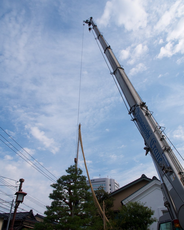 Crane placing pole into place