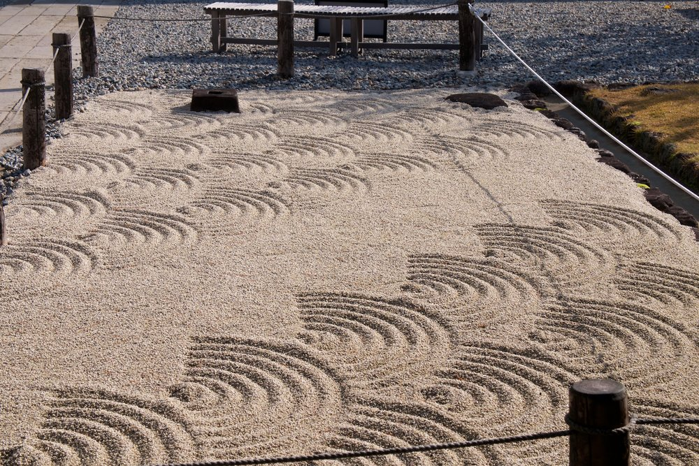 Waves in the dry garden at the entrance