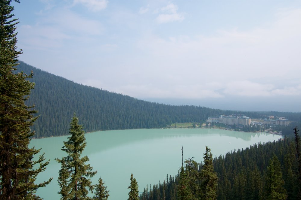 Looking back towards the Chateau Lake Louise from Fairview Lookout