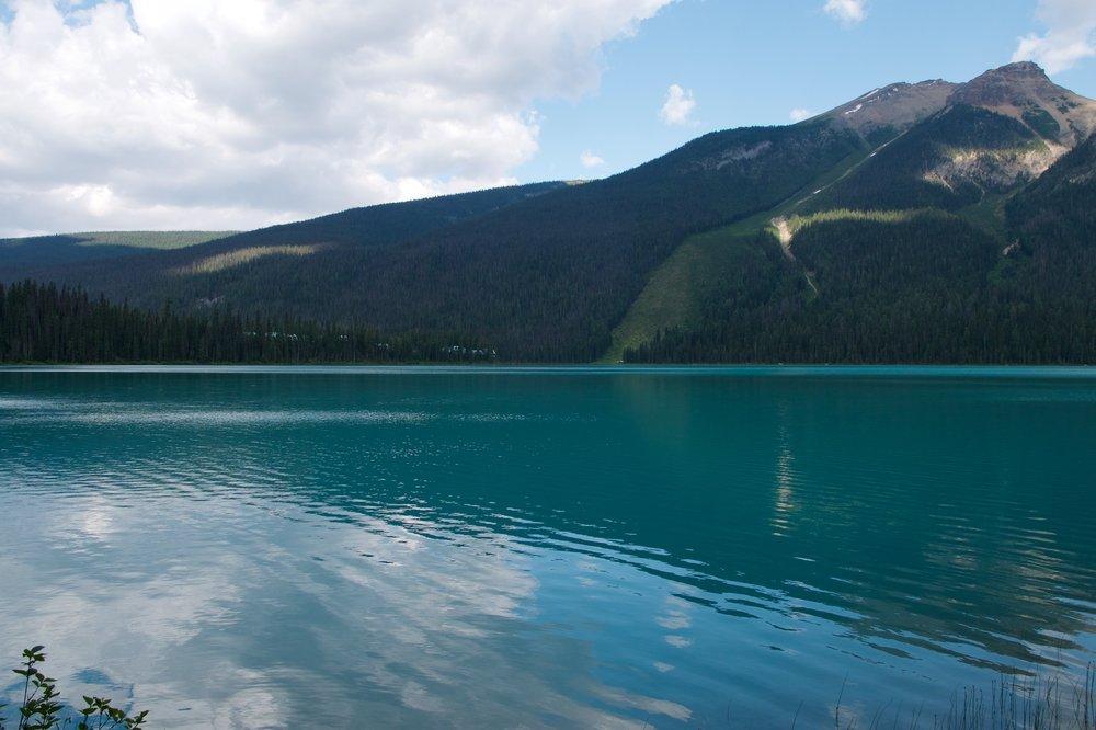 Avalanche chute across the lake