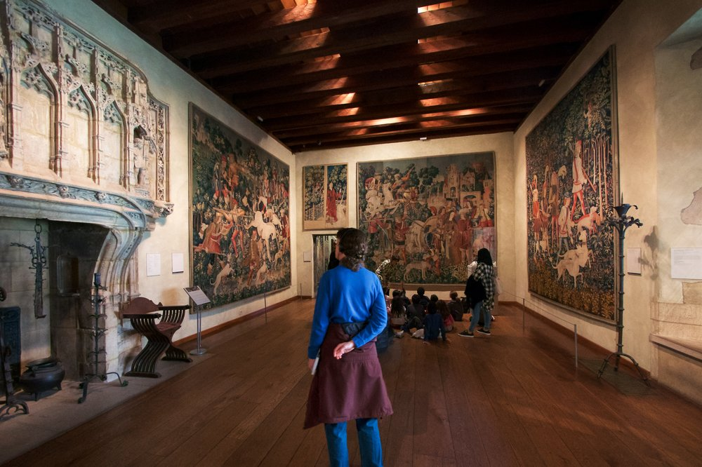 Unicorn Tapestries Room: The Unicorn Defends Itself, The Capture of the Unicorn, The Unicorn is Killed and Brought to the Castle, The Hunters Enter the Woods tapestries