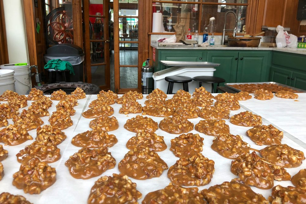 Cooling pralines at Evan's Creole Candy Factory