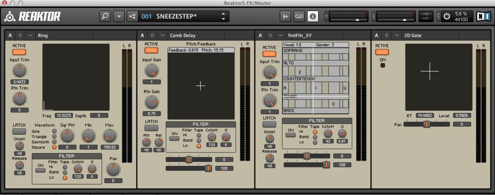 "The original Reaktor ensemble I created for ""Sneezestep,"" which was really kind of the first thing I ever made in Reaktor of any size. Although very messy, this is my Master's thesis instrument in its earliest form."