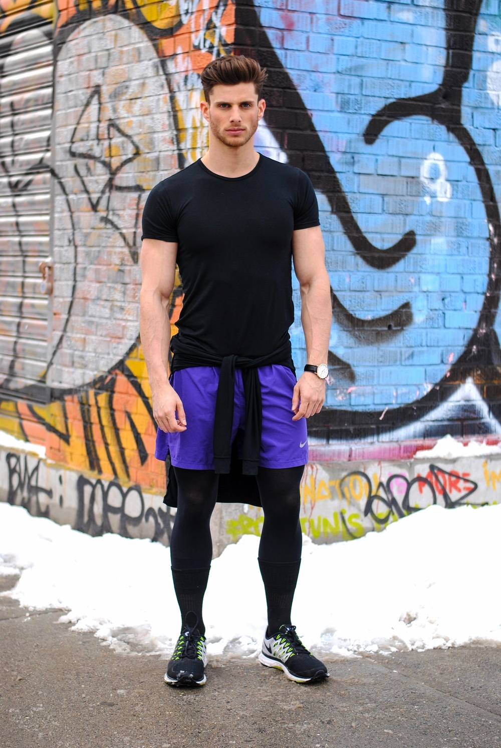 Uniqlo Heat Tech Black T-Shirt, Uniqlo Heat Tech Black Turtleneck, Uniqlo Heat Tech Leggings, Nike Purple Running Shorts, Daniel Wellington Watch, Black Socks from Kmart and Nike Vemero Shoes.