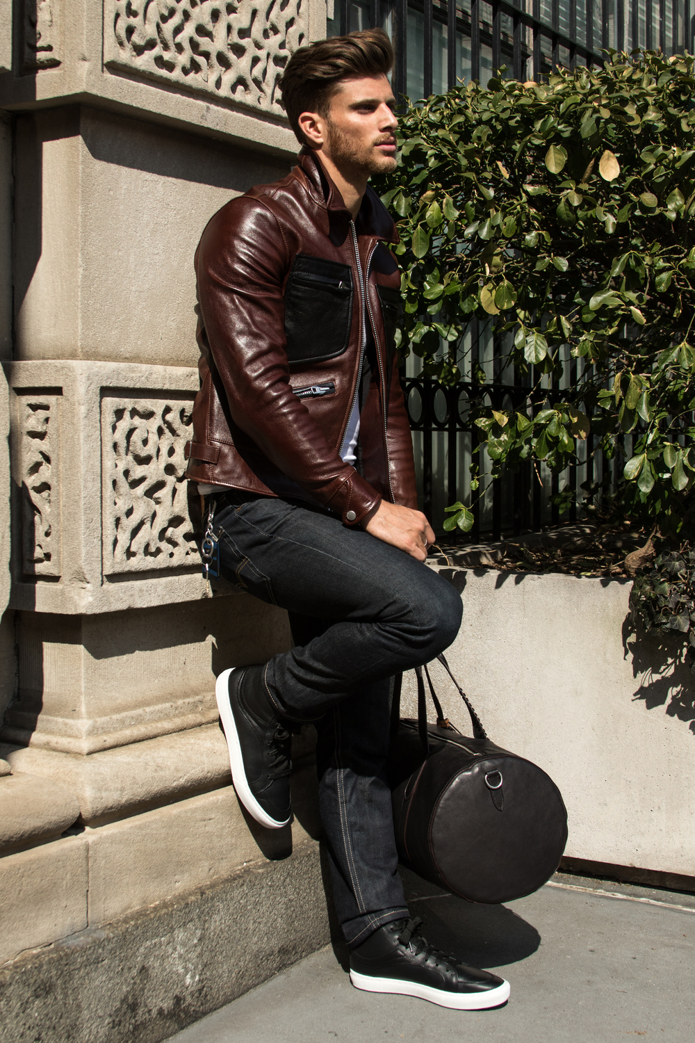 Leather Roadster Jacket | c2O2 Sneaker | Rip And Repair Large Gym Bag | Bottle Opener Bag Charm