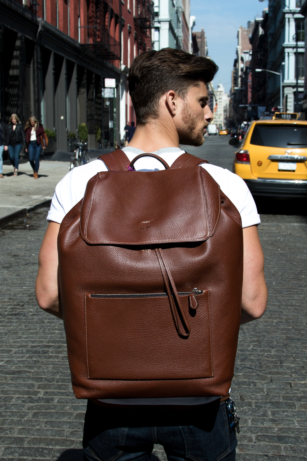 Large Manhattan Backpack | Bottle Opener Bag Charm