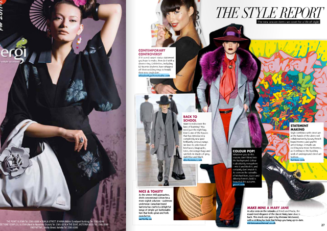 Style   on Sunday    (Oct 2011 : Issue 12,  The Style Report,  pg 27)