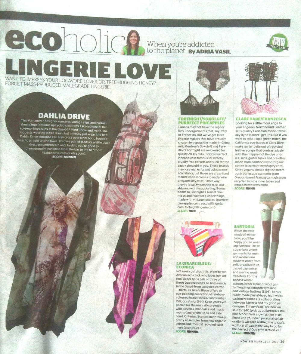 NOW Magazine, Ecoholic Column  (February 2016)