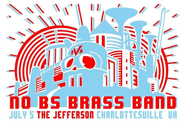 Charlottesville!!! JULY 5th at @cvillejefferson !!!!! #nobsbrass 🤖🤖🤖🤖👾👾👾👾Calvin Brown will open!! @auntmarysays on the sweeeeet art!  #brass #trombone #drums #megaman #drwily #rva #charlottesville #trumpet