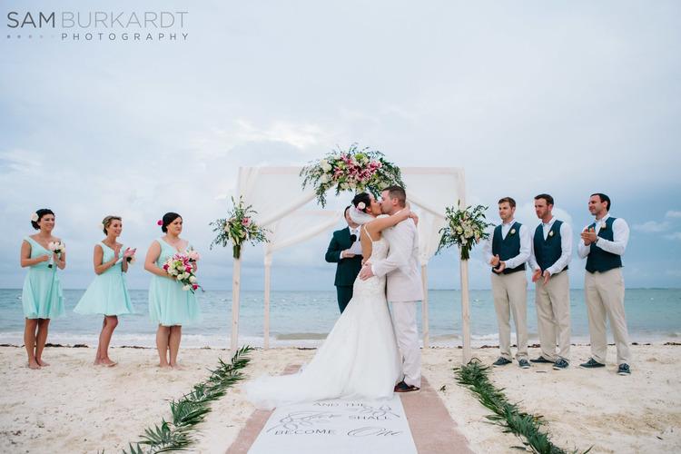 Beach Wedding Mexico First Kiss
