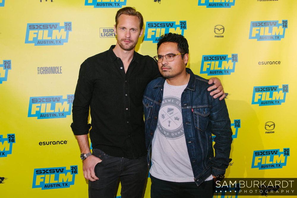 Alexander Skarsgard and Michael Peña red carpet premiere for 'War on Everyone' at SXSW 2016