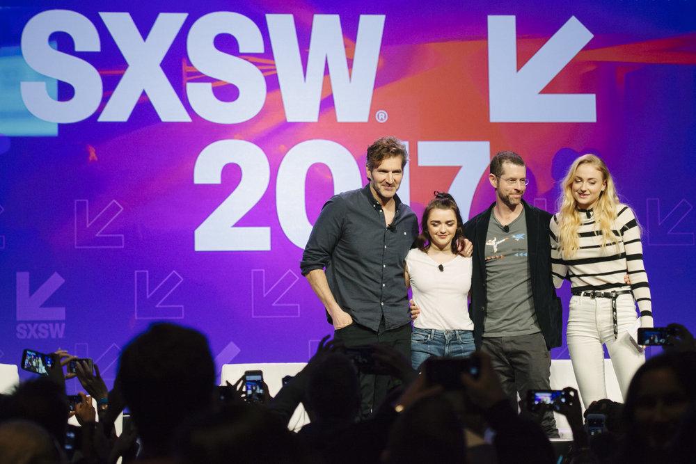 David Benioff, Maisie Williams, D.B. Weiss, Sophie Turner
