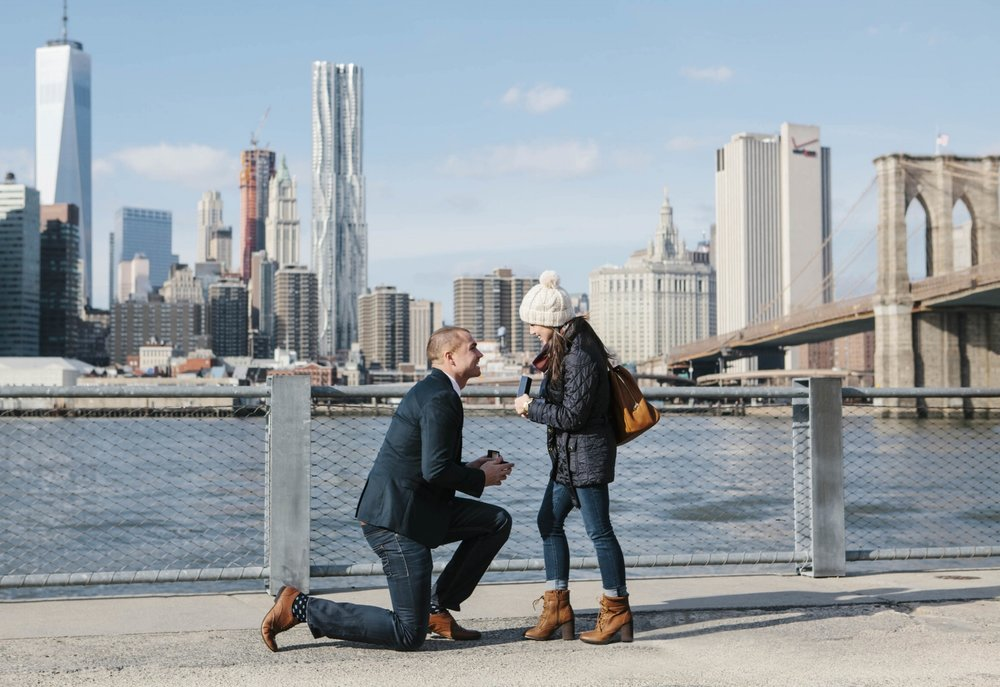 I loved this New York City Brooklyn Bride proposal! He got down on one knee and totally took her by surprise.