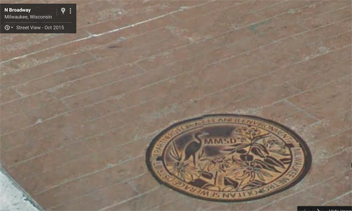 © Google Maps, the new manhole cover references a cleaner environment