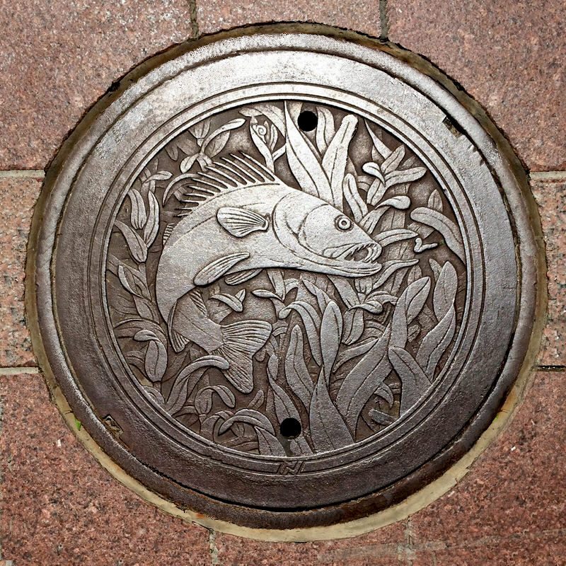 © 2016 Kate Burke, altered photo of the original photo by Will Crain, manhole cover installed at Nicollet Mall
