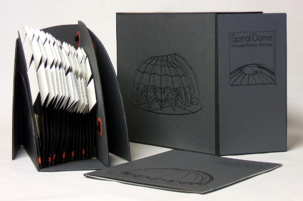 © 2016 Thomas Parker Williams, Spiral Dome, mounted on a six-part folding base, the book fits into a storage box.
