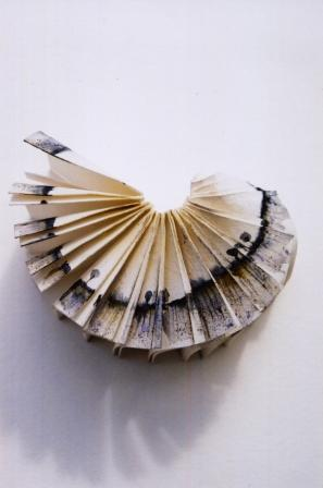 © 2001 Louisa Boyd, Landscape within a book, folded with a landscape image painted onto it in watercolour