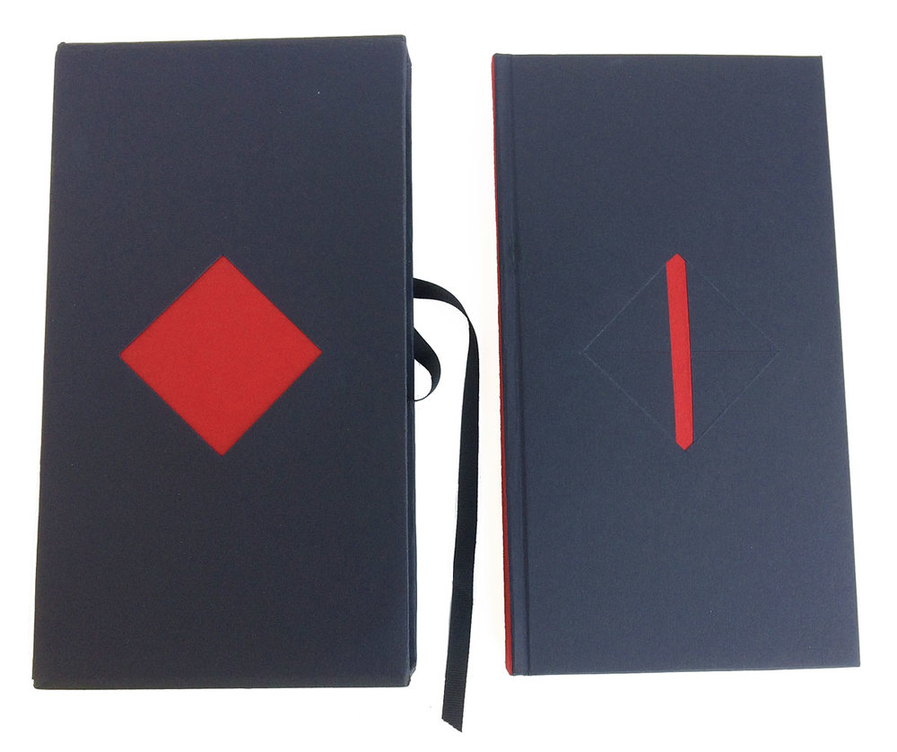 © 2005 Maria G Pisano, Vita Defuncta is housed in a publisher's slipcase, with an open wound at its center, which becomes the symbolic black casket for the book within.
