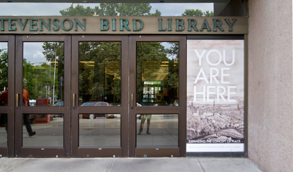 © 2017 Louise Levergneux, arriving at the Stevenson Bird Library in Syracuse, to meet with Peter D Verheyen. See my reflection in the window!