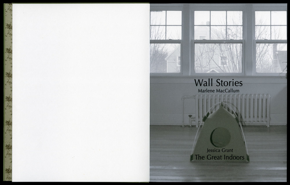 © 2014  M. MacCallum, Wall Stories, dust jacket, inkjet on Digital Aya paper, view of title page, 26 x 20 x 1.2 cm (closed dimension)