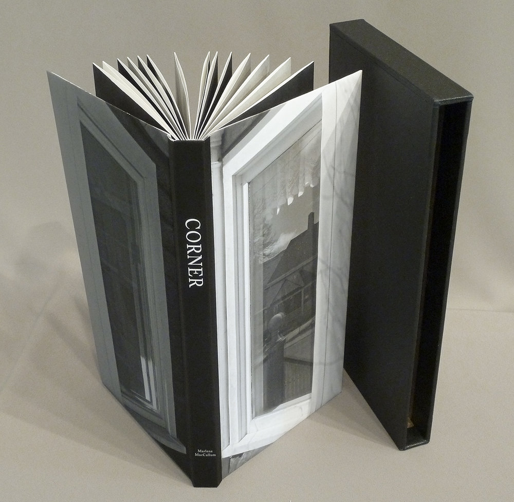 © 2013  M. MacCallum, Corner a handbound accordion book with slipcase, the structure is held closed into a codex form by sewing across the spine into the end pages. 26.1 x 13.2 x 2.4 cm (closed dimension)