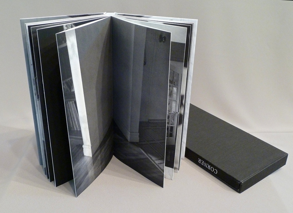 © 2013  M. MacCallum, Corner, front and back end pages slip into the cover pockets, the book block is printed in photogravure on Somerset paper and the cover is inkjet on coated Tyvek