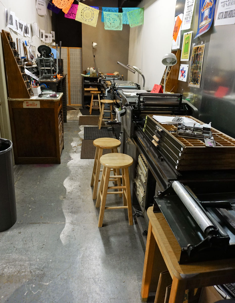 © 2017 Louise Levergneux, The Austin Book Arts Center, in the print-shop part of the center, you will find a No.4 Vandercook, a SP15 Vandercook, a Universal I Vandercook, an 8x12 Chandler and Price platen jobber, and several tabletop platen presses