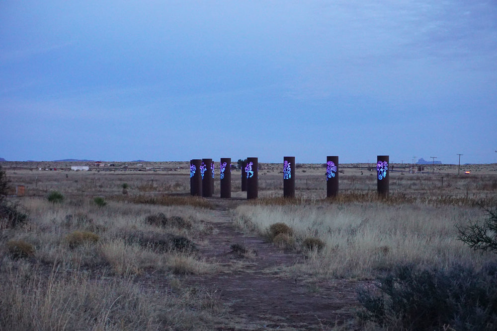 © 2017 Louise Levergneux, Public Art at the Tumble Inn RV Park at twilight, Marfa