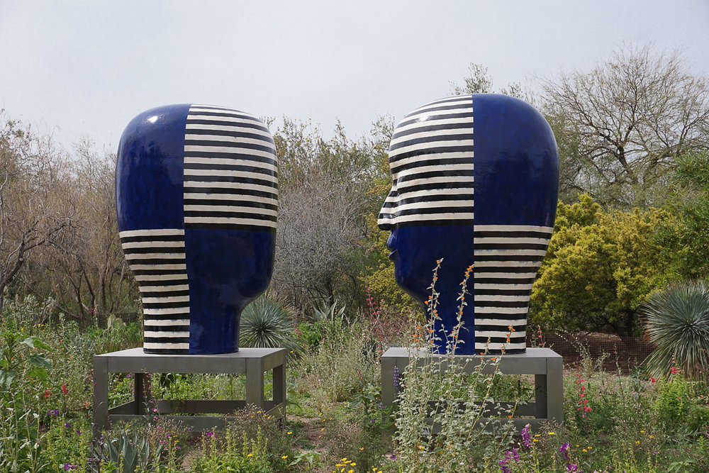 © 2018 Louise Levergneux, Heads 2014 by  Jun Kaneko  at the Desert Botanical Gardens in Phoenix, Arizona