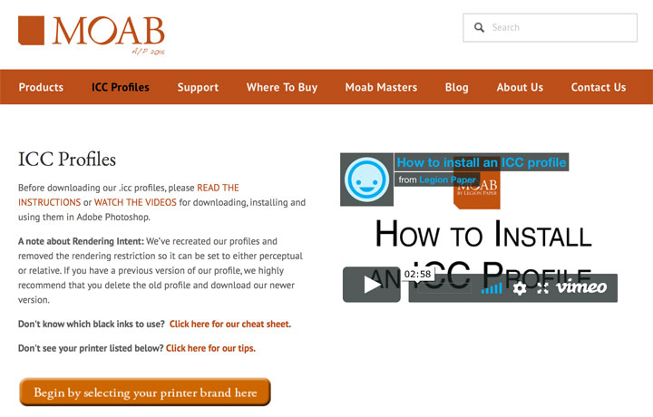 Moab page describing profiles to start  downloading  and install