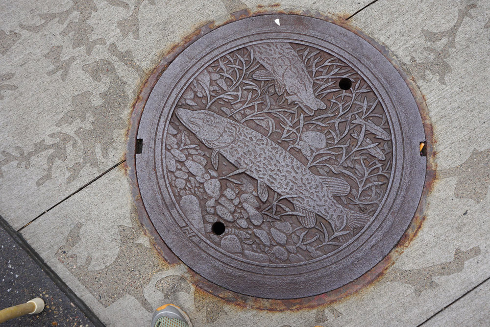 © 2018 Louise Levergneux. Northern Pike, manhole cover on Nicollet Mall, designed by Kate Burke.