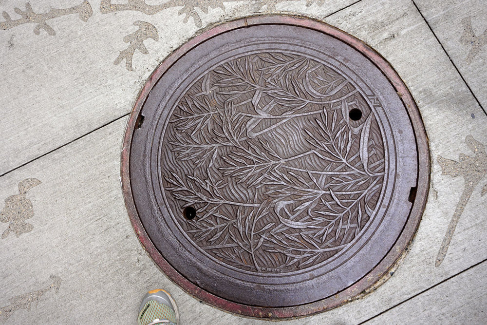 © 2018 Louise Levergneux. Wild Rice, manhole cover on Nicollet Mall, designed by Kate Burke.