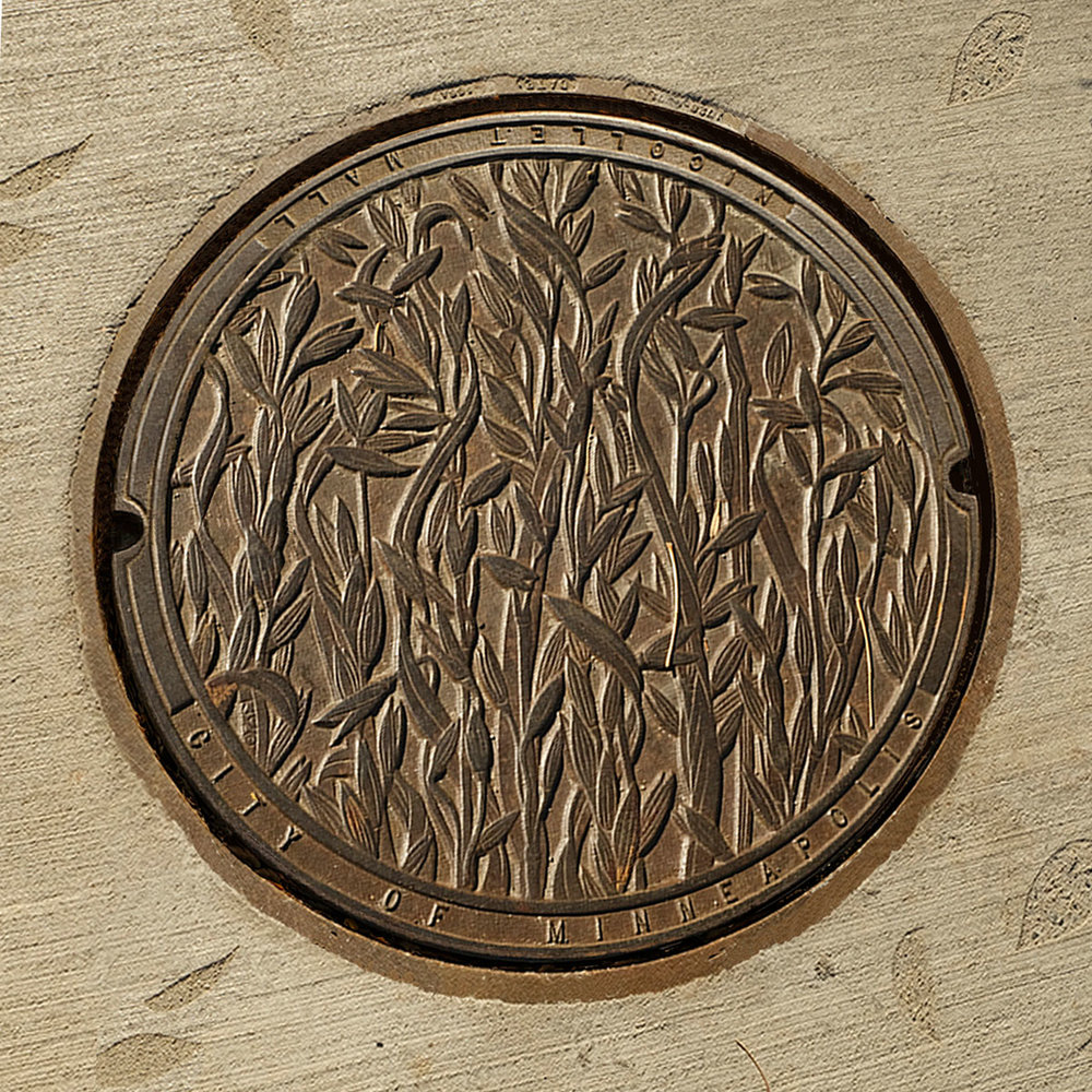 © 2018 Kate Burke. Oats, manhole cover when it was first install, designed by Kate Burke.