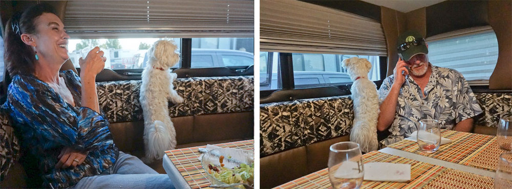© 2018 Louise Levergneux. Our very first guests, Linda, Marty and Tony (the Maltese) enjoying a meal with us at the Pony Express RV Camping in Salt Lake City, Utah. /  Nos premiers invités, Linda, Marty et Tony (le Maltais) jouissant d'un repas avec nous au terrain de camping Pony express RV à Salt Lake City, l'Utah.