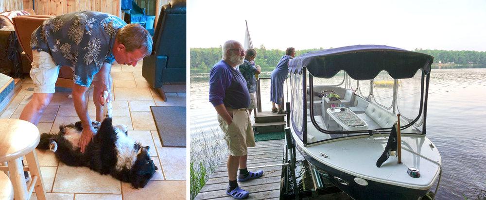 © 2018 Louise Levergneux. (left) Reid plays with Shelby. (right) Reid and Angel prepare the boat for a relaxing ride. /  (à gauche) Reid s'amuse avec Shelby. (à droite) Reid et Angel prepare le bateau pour un tour relaxant.