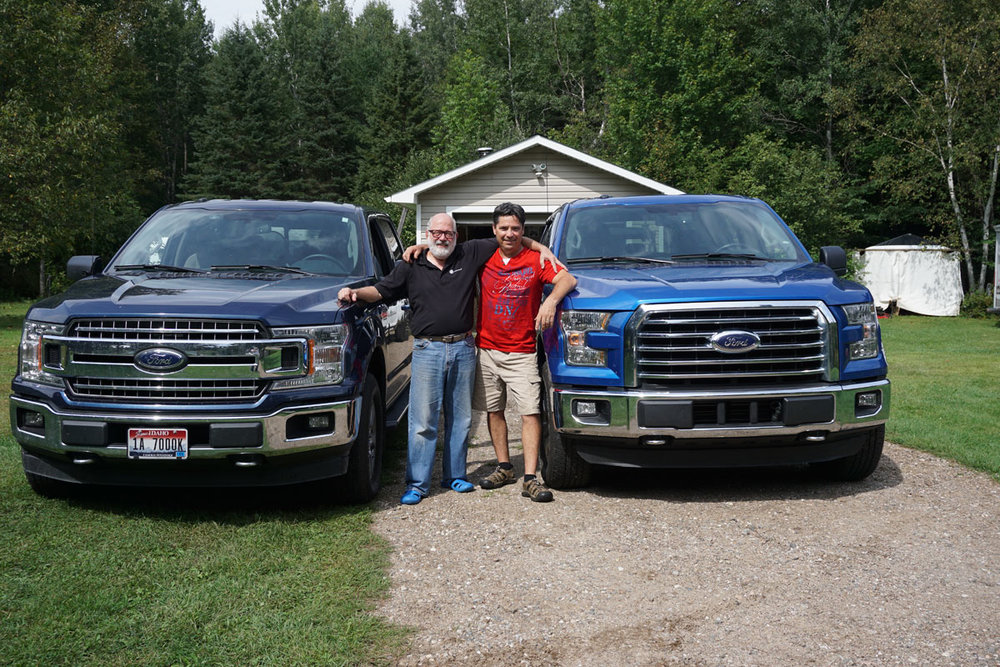 © 2018 Louise Levergneux. Michael and Denis with the twin Fords F-150. /  Michael et Denis avec les jumeaux Ford, F-150