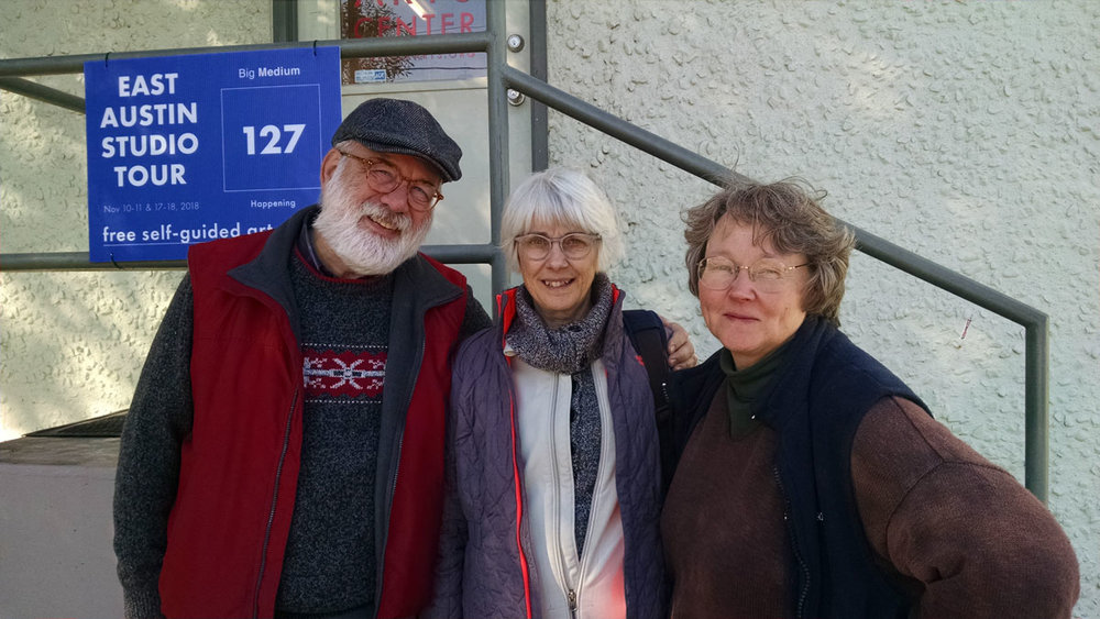 © 2018 Linda Anderson. Michael Sutton, Louise Levergneux, Mary Baughman, outside the Austin Book Art Center, Austin, Texas.