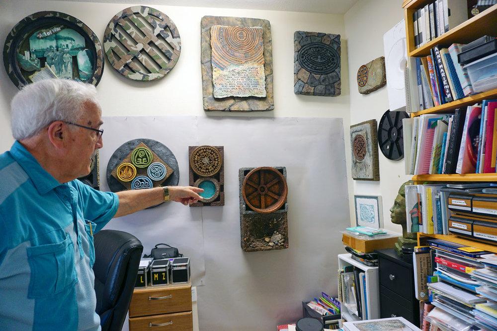 © 2018 Louise Levergneux. Bobbi's husband Al showing us around Mastrangelo's studio.