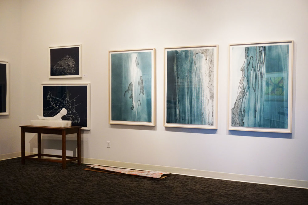 "© 2019 Louise Levergneux.  top left:  Sandra Cinto,  Open Sea ,   2016, Cyanotype, 22 x 30"";  left middle:  Esterio Segura,  Homemade Submarine SJXXII ,     2017, Cyanotype, 32.125 x 46"";  left bottom:  Sandra Cinto,   Untitled  ,     2016, sculpture: Alabaster, 13.5 x 36 x 12"", base: 30 x 40 x 21"", Walnut Hardwood;  right:  Sandra Cinto,   Chance and Necessity   ,      2016, suite of 5 two-run, two-color direct gravures with photogravure, 49.75 x 34"" ea."