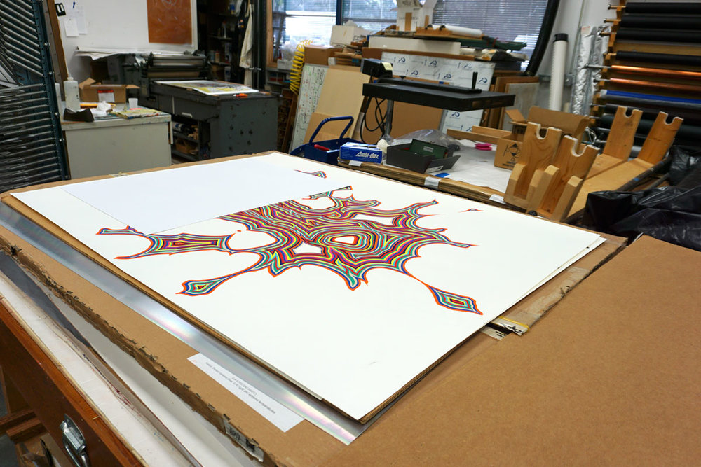 "© 2019 Louise Levergneux. Fred Tomaselli,   Untitled   (bloom),     2018, archival pigment print with 11-run screenprint, 58 x 46"" being printed."