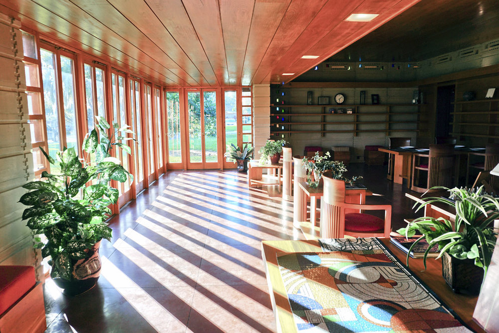 © 2019 Louise Levergneux. Inside the living space of the Usonian House, the latest masterpiece to highlight the famed architect's affinity for cypress.