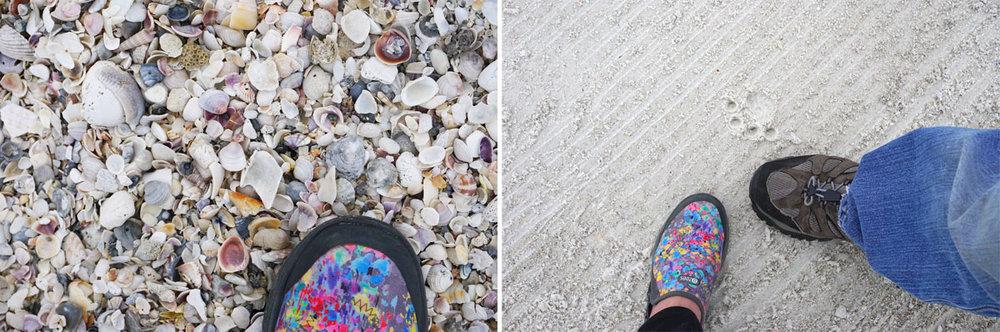 © 2019 Louise Levergneux. left: The milions of shells on Coquina Beach; right: a commemorative photo, as we feel Topaz's presence during our walk on the beach. /  à gauche: des millions de coquilles sur la plage de Coquina; à droite: photo commémorative, alors que l'on ressent la présence de Topaz en marchant sur la plage.