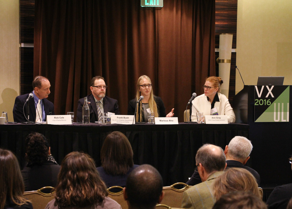 Resiliency panel, left to right:Rick Cole, Frank Bush, Marissa Aho and Ann Gray. photo by Dlugolecki Photography