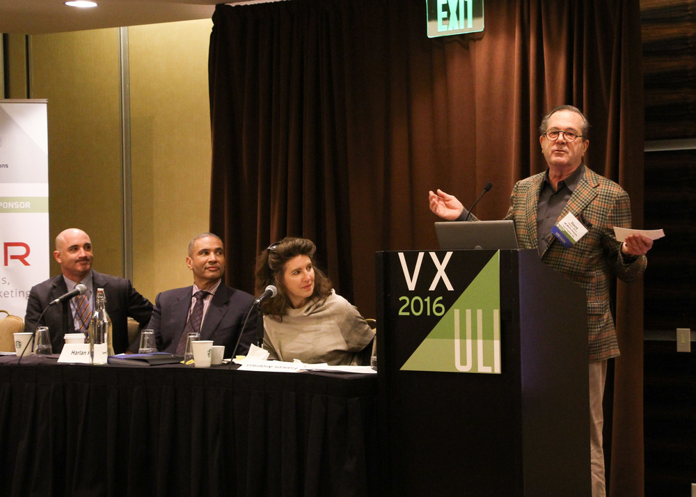 Panel on the most sustainable buildings in the world, left to right: David Kramer, Harlan Kelly, Frances Anderton and David Martin. photo by Dlugolecki photography