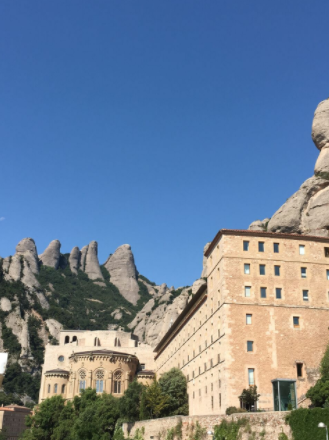 The rock pillars of Montserrat and its Benedictine monastery.