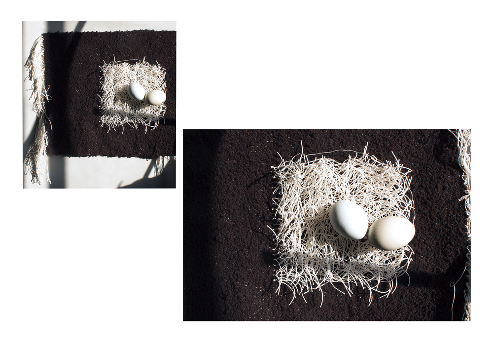 Gifted eggs, Found textile, wire