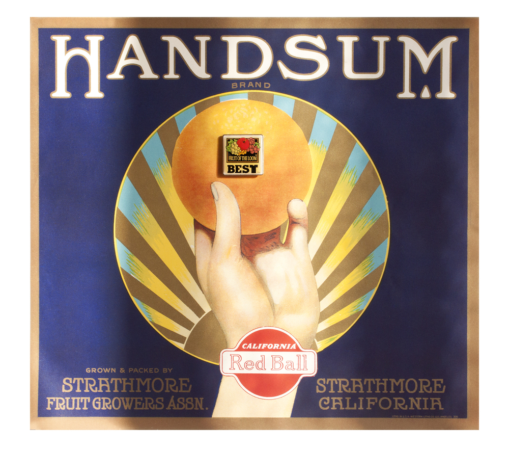 "Found 1930's Handsum Brand fruit carton label, Found ""Fruit of the Loom"" enamel pin"