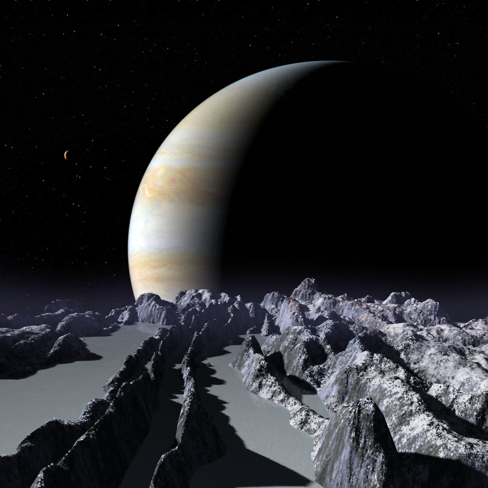 Jupiter rising over Europa.